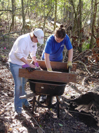 Students at a dig site