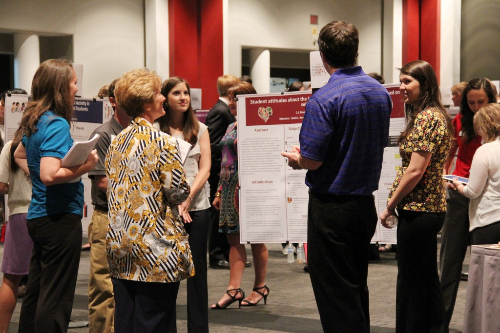Students presenting posters at the undergraduate research conference