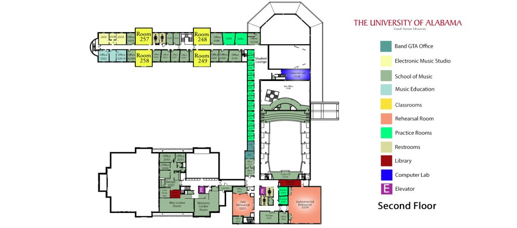 Moody Hall, second floor map